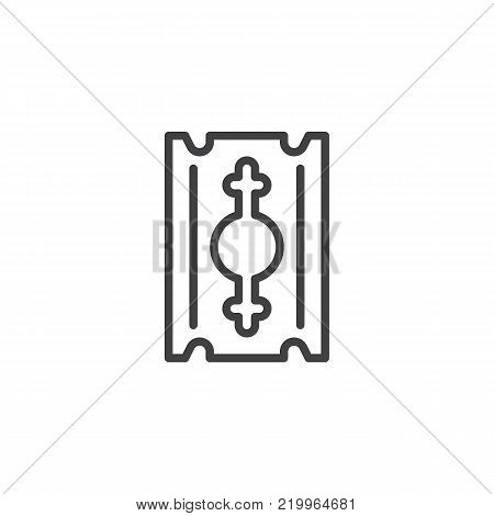 Razor blade line icon, outline vector sign, linear style pictogram isolated on white. Symbol, logo illustration. Editable stroke