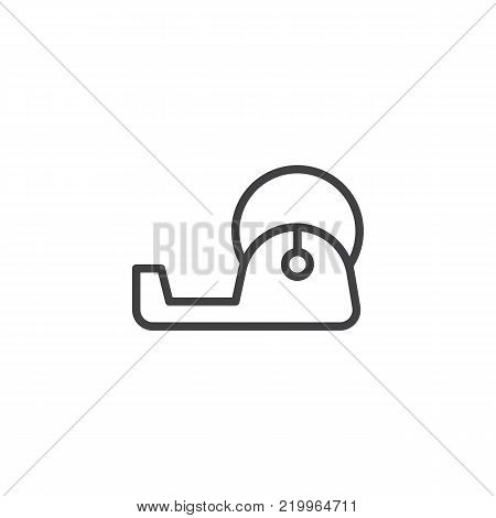 Office tape dispenser line icon, outline vector sign, linear style pictogram isolated on white. Adhesive tape symbol, logo illustration. Editable stroke