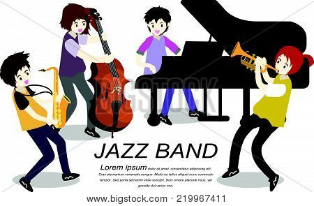 Musicians Jazz band ,Play trumpet,bassist ,Piano,Saxophone .Jazz band.Vector illustration isolated on background in cartoon style..