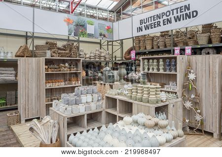NETHERLANDS - ZOETERMEER - DECEMBER 25, 2017: Home accessories in garden center Intratuin in Zoetermeer in The Netherlands.