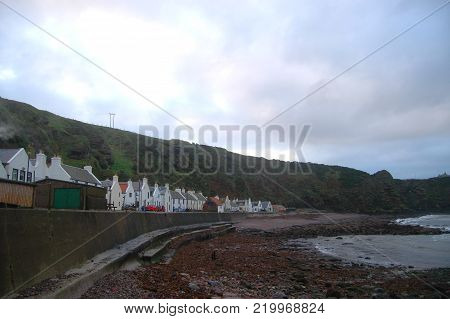 Row of Traditional Fishing Cottages in Village of Pennan, Scotland
