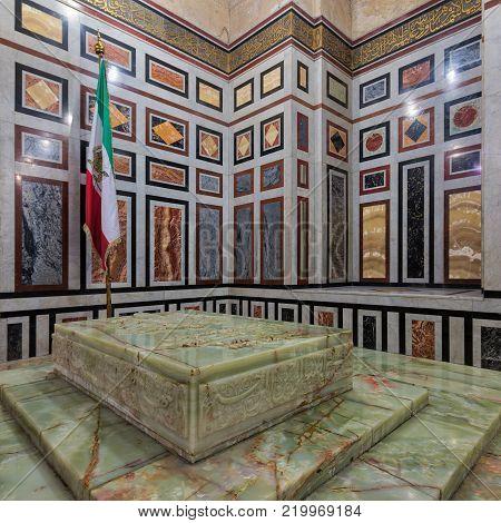 Cairo, Egypt - December 16, 2017: Tomb of the Reza Shah of Iran, Al Rifaii Mosque (Royal Mosque)