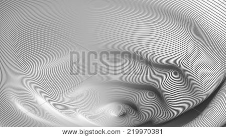 Wide format abstract background, visual illusion of 3d effect. Rhythmic lines. Technology background, vector