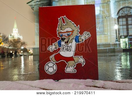 December 8, 2017 Moscow, Russia. The official mascot of the FIFA World Cup 2018 wolf Zabivaka at the Manege Square in Moscow.