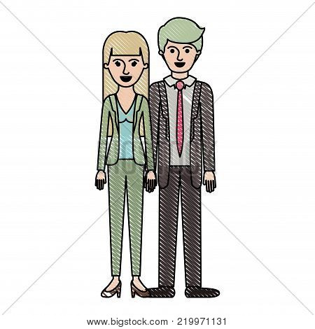 couple in colored crayon silhouette and her with blouse and jacket and pants and heel shoes with straight long hair and him with suit and tie and pants and shoes with short hair vector illustration