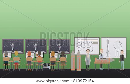 Space science education vector illustration. Space and science center. Space exploration, aerospace engineering concept. Flat style design.