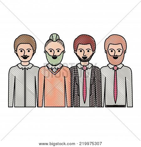 men in half body with casual clothes with short hair and some with beard and moustache in colored crayon silhouette vector illustration