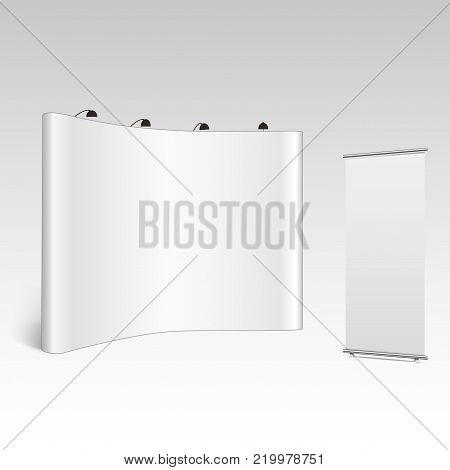 Blank trade show booth mock up. Front view. Vector isolated on grey background.