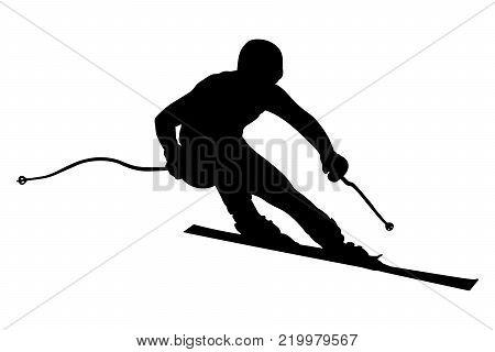 skier athlete downhill alpine skiing vector illustration