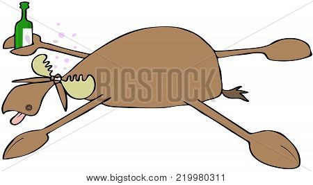 Illustration of a drunken bull moose spread eagle on the ground and holding a bottle of wine.