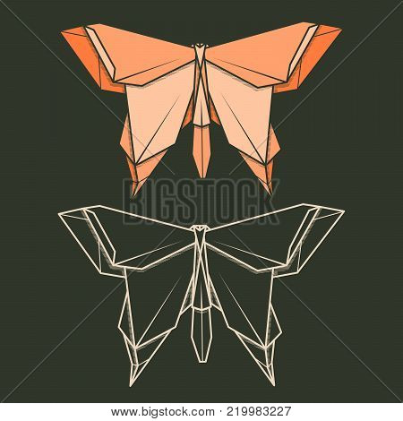 Set vector simple illustration paper origami and contour drawing of butterfly.