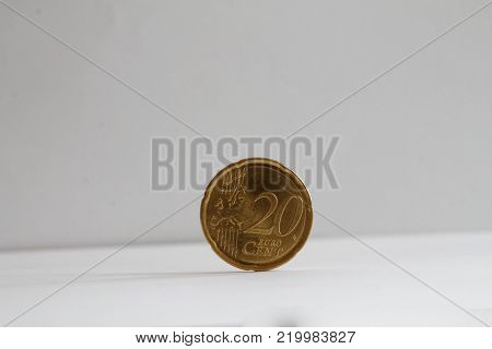 One euro coin on isolated white background Denomination is twenty euro cents