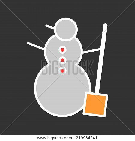 Snowman color vector icon isolated on black. Snowman illustration flat design.