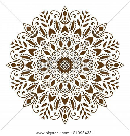 Mandala. Indian antistress medallion. Abstract islamic flower, arabic henna design, yoga symbol. White background. Vector illustration