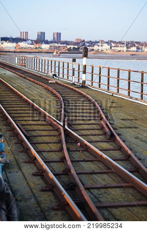 Railway points junction on the Southend-on-Sea Pier