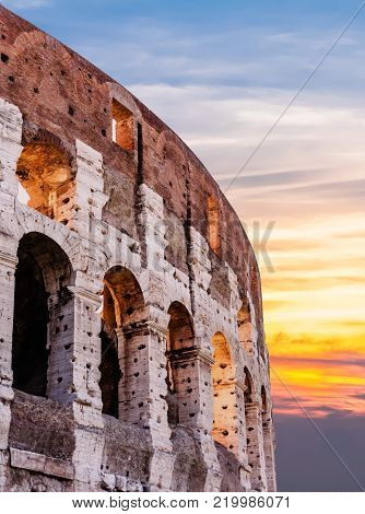 A red and orange Sunrise at the Roman  Colloseum