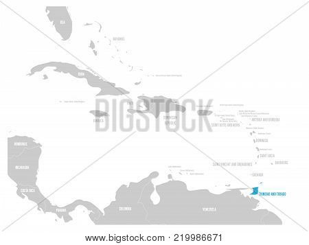 Bahamas blue marked in the map of Caribbean. Vector illustration.