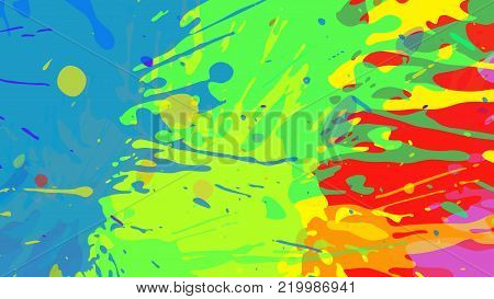 Wide format abstract colorful grunge background. Place for text. Paint splashes. Background for presentation business card. Full HD 4K wallpaper. Vector without gradient, EPS10 with transparency