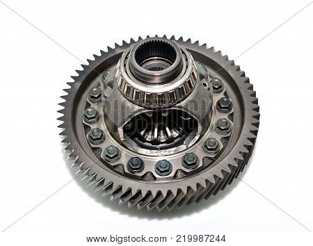 Car gear box differential on white background.