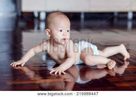 Cute adorable little Asian 8 months old baby boy child wearing diaper try to crawling on wood floor in living room at home, photo in real life interior, Soft and Selective focus