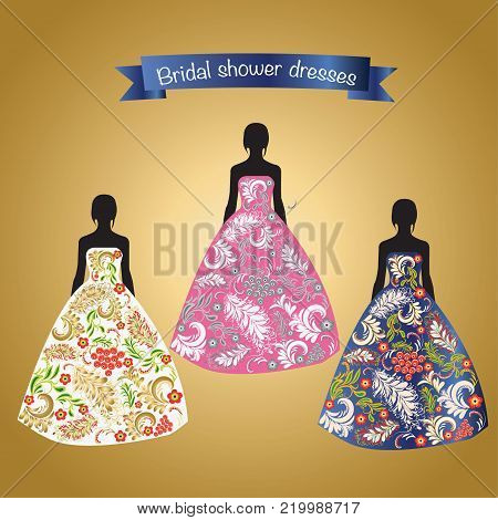 Woman fashion elegant set of dresses for celebration day. Colorful vector illustration silhouette with Romantic beautiful bridal or evening dresses.