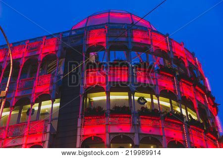 DUBLIN, IRELAND - December 24th, 2017: Christmas lights adorning Stephen Green Shopping Centre