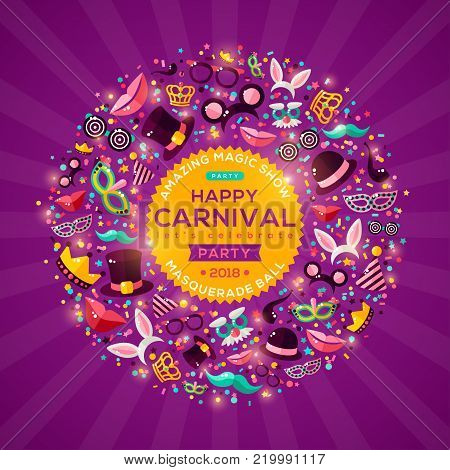 Carnival Concept Banner with carnaval Icons on shiny purple background. Vector Flat Illustration. Circle Frame or Emblem with template for your text. Photo Booth Party Elements.