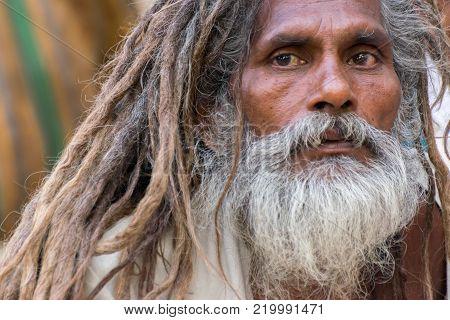 BABUGHAT, KOLKATA, WEST BENGAL / INDIA - 10TH JANUARY 2015 : Portrait of Hindu Sadhu with white beard.