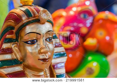 Colorful dolls made of clay, handicrafts on display during the Handicraft Fair in Kolkata , earlier Calcutta, West Bengal, India. It is the biggest handicrafts fair in Asia.