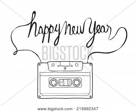 happy new year, Compact Cassette, Musicassette  hand drawn vector , cassette tape, audio cassette with analog magnetic tape  illustration line art