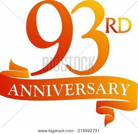 93 Year Ribbon Anniversary Logo Design Template Vector