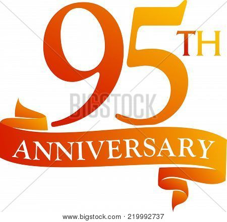 95 Year Ribbon Anniversary Logo Design Template Vector