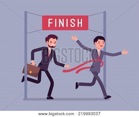 Businessmen at finish line. Young men at line marking the end of a racecourse, the first wins a game, market contest, competition, or election. Vector business concept flat style cartoon illustration
