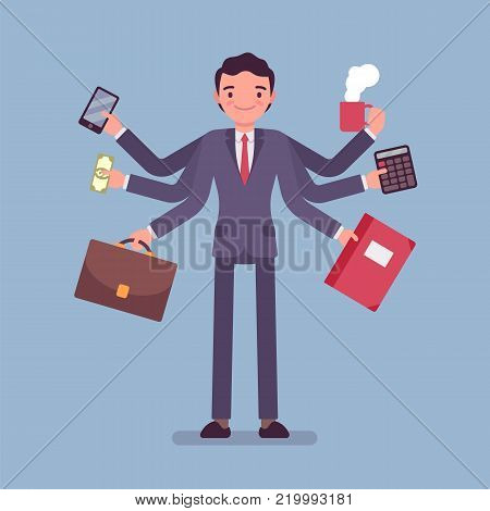 Multitask businessman at work. Active office manager dealing with many tasks simultaneously, at the same time, take on several projects .Vector business concept flat style cartoon illustration