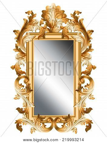 Mirror golden frame Vector realistic 3d volume design illustration