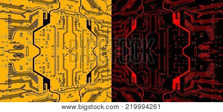 Red and yellow circuit board pattern suitable as abstract technology background.Digitally altered image.