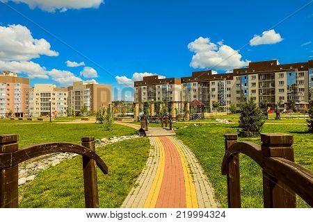 Belgorod, Russia - May 20, 2017: New residential neighborhood