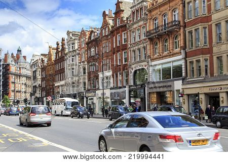 LONDON, GREAT BRITAIN - MAY 10, 2014: These are houses in the exclusive residential and commercial district of Knightsbridge in the western part of the city.