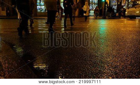 People cross the road at a pedestrian crossing in the night rainy city