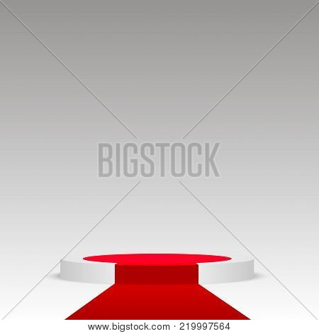 Round stage podium illuminated. Stage vector backdrop. Festive podium scene with red carpet for award ceremony. Vector illustration