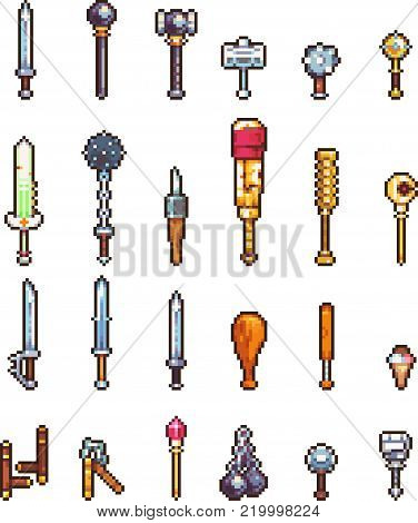 Set of weapon icons in perfect pixel art style. Sword, knife, dagger, bayonet, ax, mice and other fantasy weapons. For your games, retro, business design. Detailed vector clip art with easy colors
