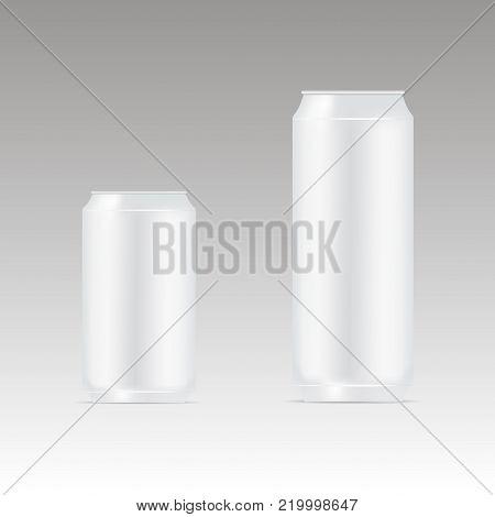 Package design.  Mock up illustration. Bank of carbonated water. Tasty drink, can lemonade or beer. Vector illustration