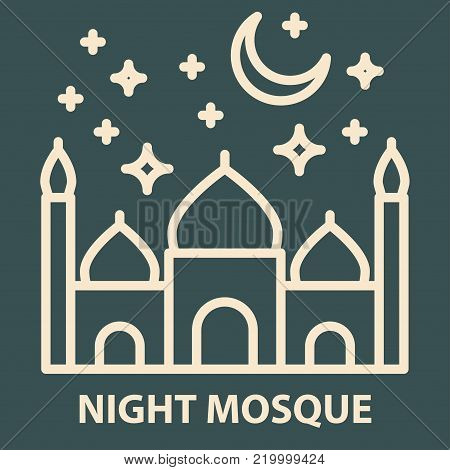 Arabic night mosque icon in linear style. Arabian night mosque logo template. Vector illustration.