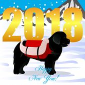 Happy new year card with newfoundland lifesaver vector poster
