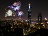 Firework with cityscape nightlife view of Taipei. Taiwan city skyline at twilight time public scene from view point. poster