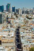 Aerial view of Tel Aviv promenade. Recognized places such as the Etzel Museum Tel Aviv beach and Neve Tzedek neighborhood. poster