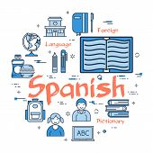 Vector linear blue round concept of Spanisn Subject. Line icons of school lesson in foreign languages, textbooks, dictionaries and teaching aids poster