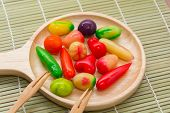 Fruit Shaped Mung Beans in Jellydeletable imitation fruits or Kanom Look Choup in Thai poster