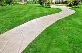 Lawn and curved path as background or texture poster
