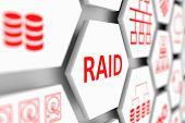 RAID concept cell blurred background 3d illustration poster